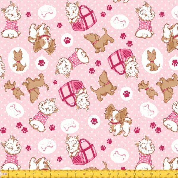 Tecido Tricoline estampado Cachorros fundo rosa