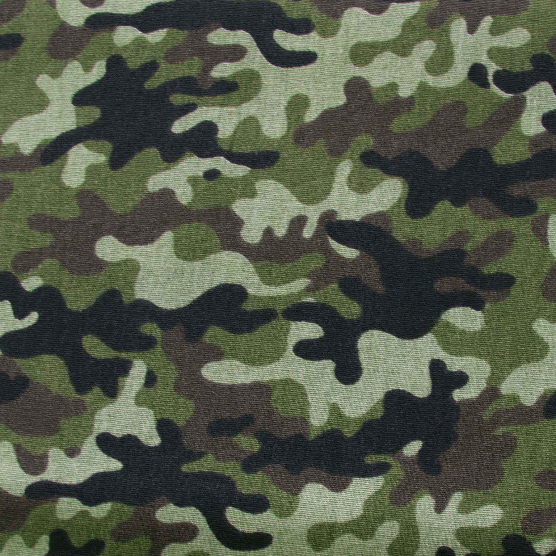 Tecido Tricoline estampado Camuflado Verde