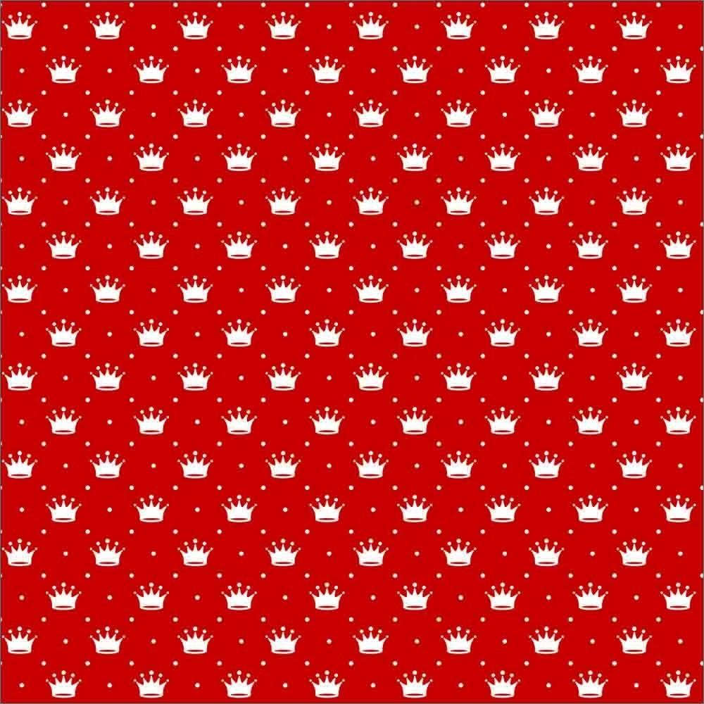 Tecido Tricoline estampado Coroa fundo vermelho