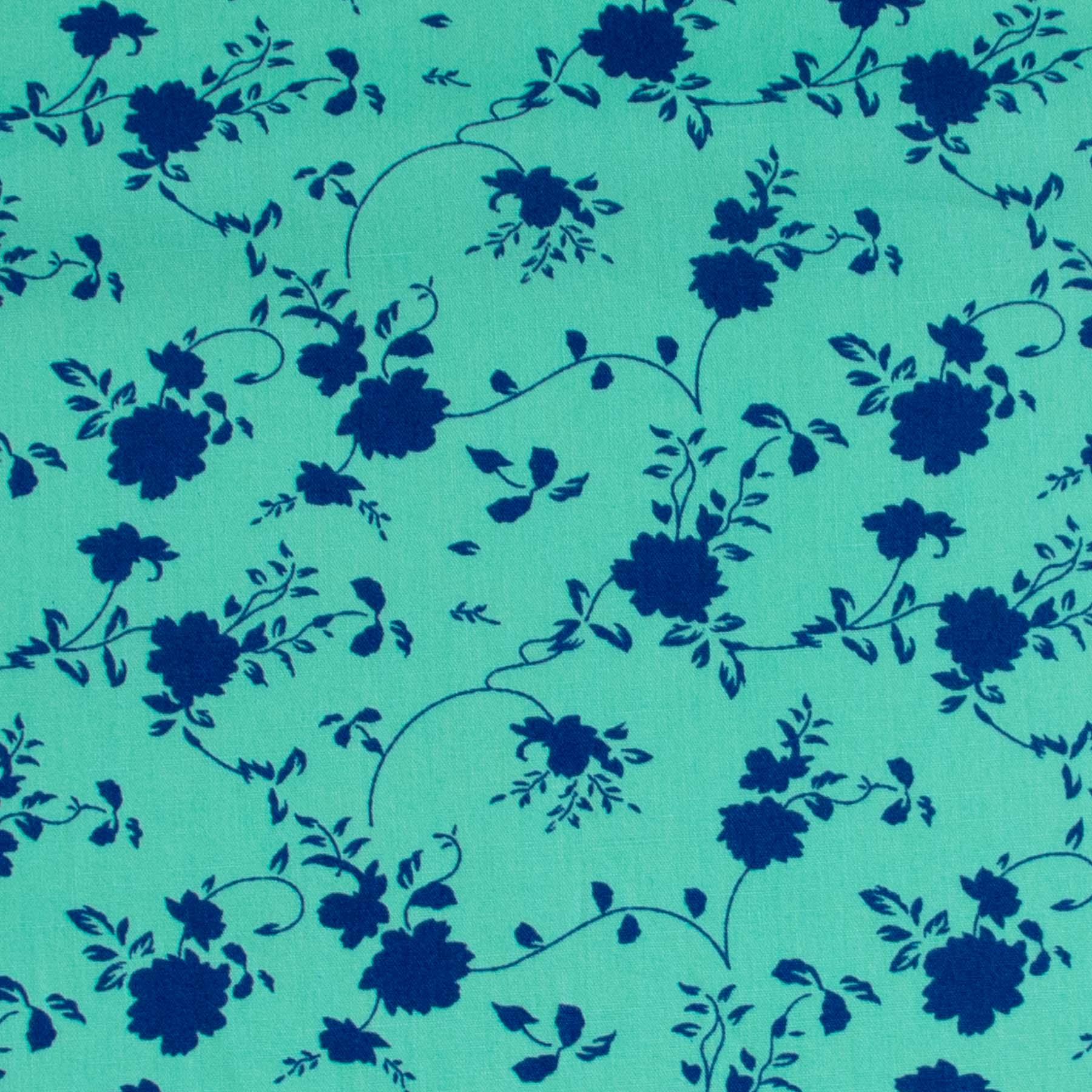 Tecido Tricoline estampado Floral azul com fundo turquesa
