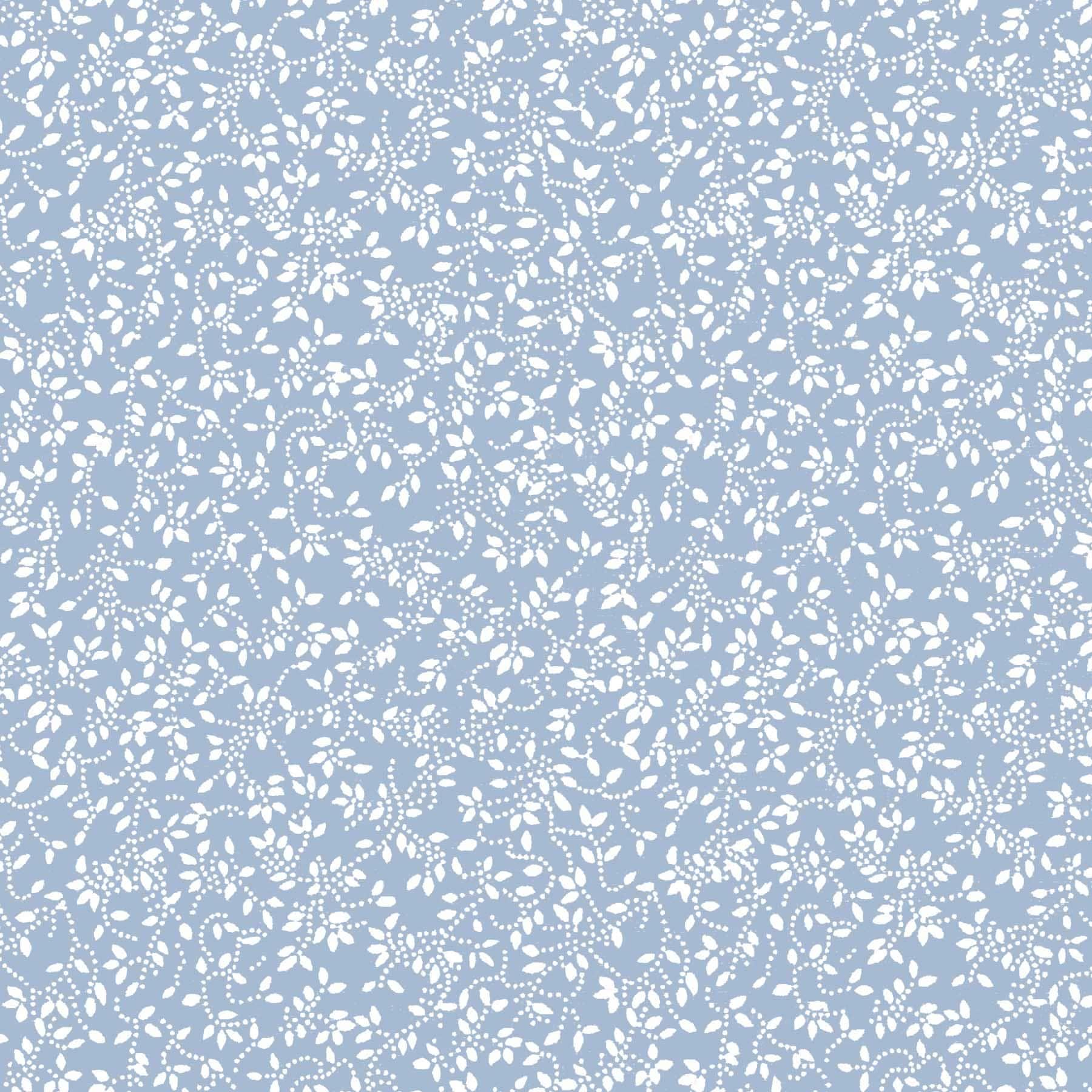 Tecido Tricoline estampado floral ramificado branco fundo azul bebe