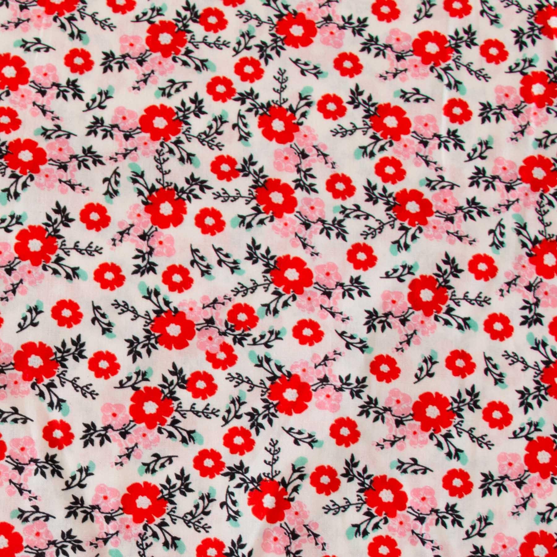 Tecido Tricoline estampado Floral vermelho e rosa fundo off white