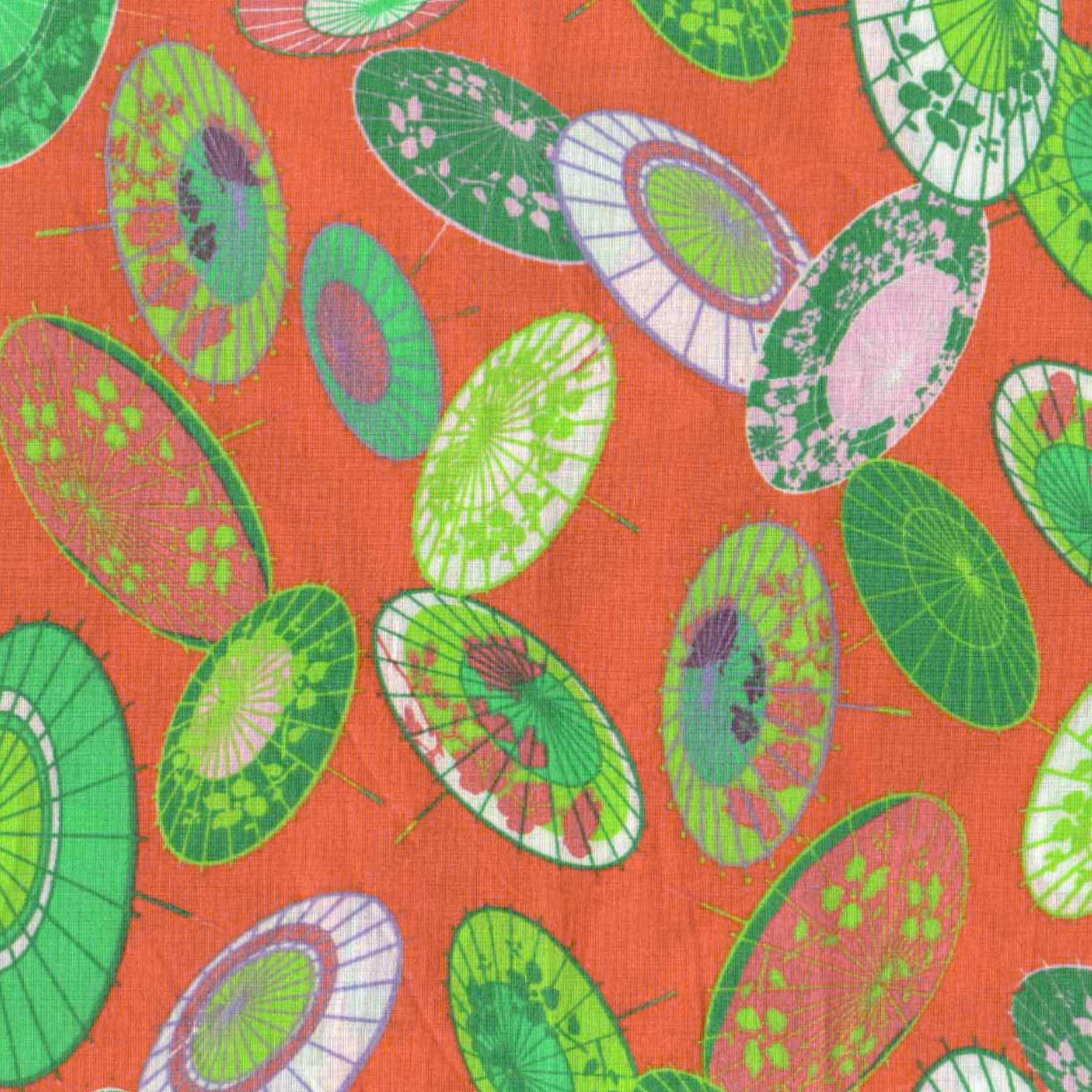 Tecido Tricoline estampado guarda-chuva colorido