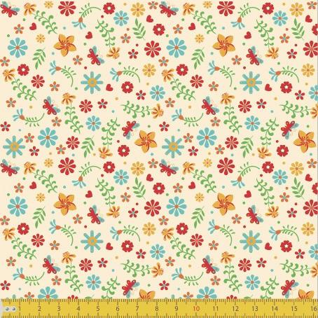 Tecido Tricoline estampado Mini Floral fundo creme