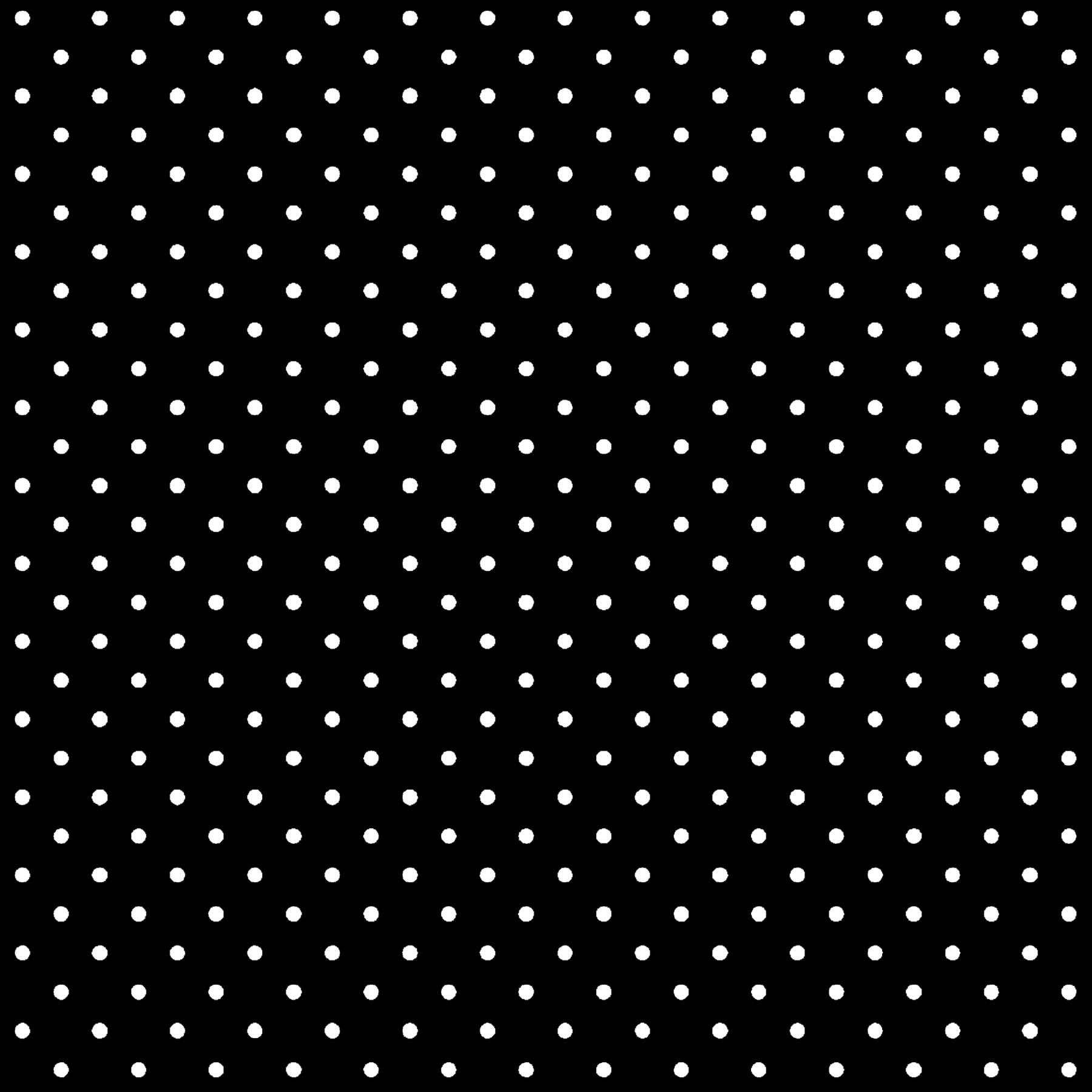 Tecido Tricoline estampado Mini Poá branco fundo preto