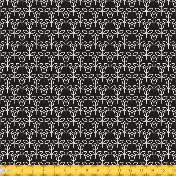 Tecido Tricoline estampado Tulipinha fundo preto