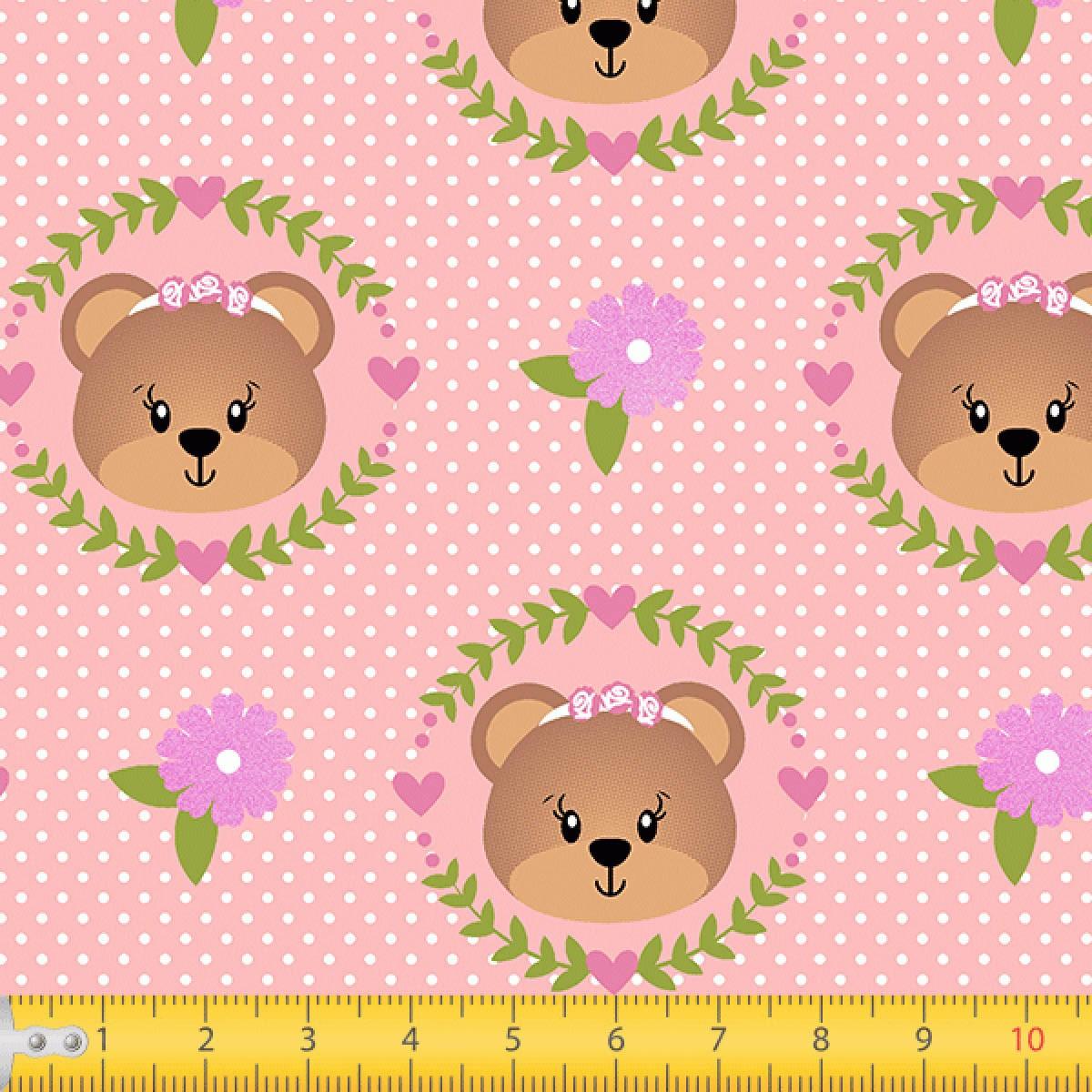 Tecido Tricoline estampado Urso floral rosa