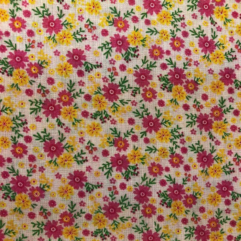 Tecido Tricoline Textoleen Mista Florido Vermelho e amarelo 1,40m Largura 50% Poliéster 50% Algodão