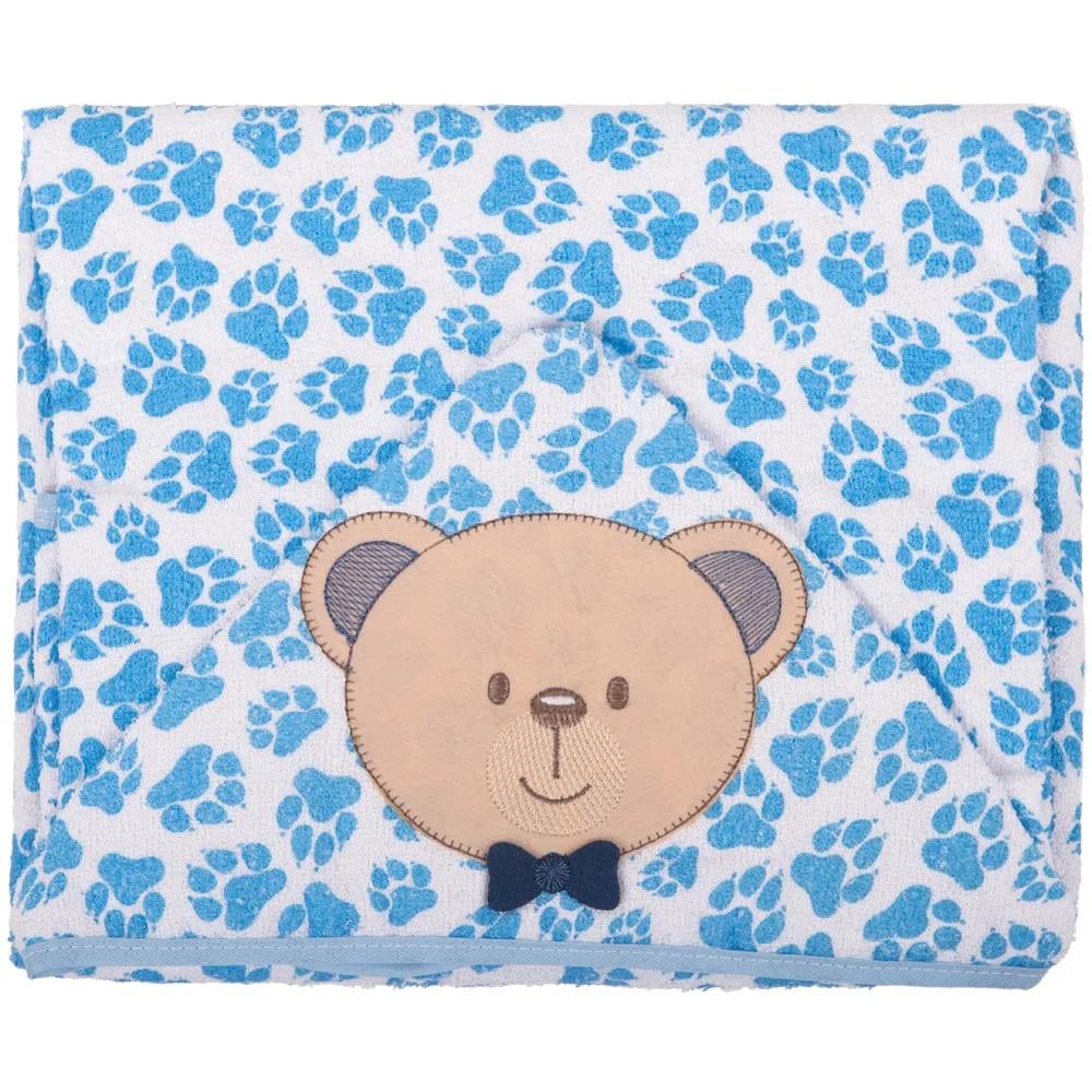 Toalha de Banho Infantil com Capuz e Forro de Fralda - Ursinho Azul