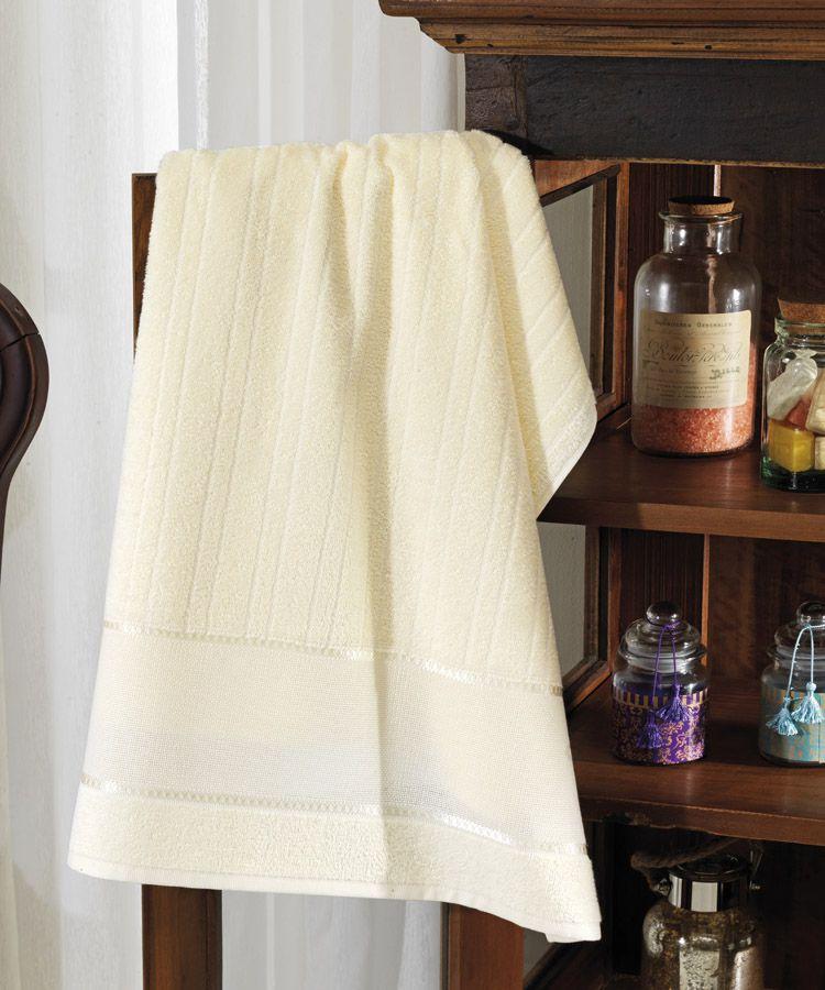 Toalha de banho para bordar Felpudo Marfim -  Dohler