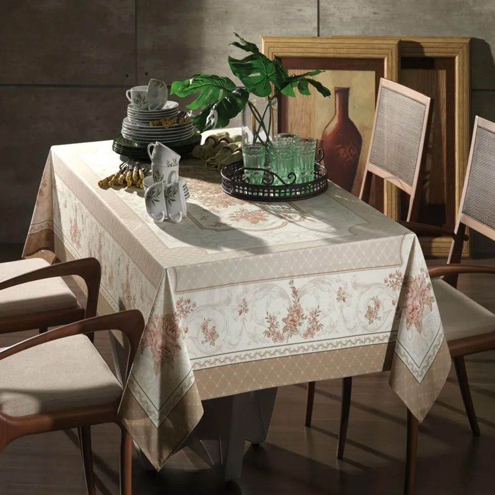 Toalha de mesa quadrada 4 lugares Joulie 1,40m x 1,40m  - Karsten Cada Dia Antiformiga