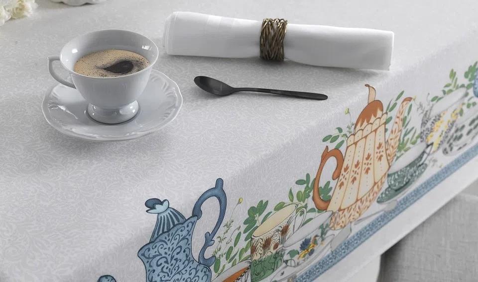 Toalha de Mesa Redonda Chá da Tarde 4 Lugares 1,60m - Karsten