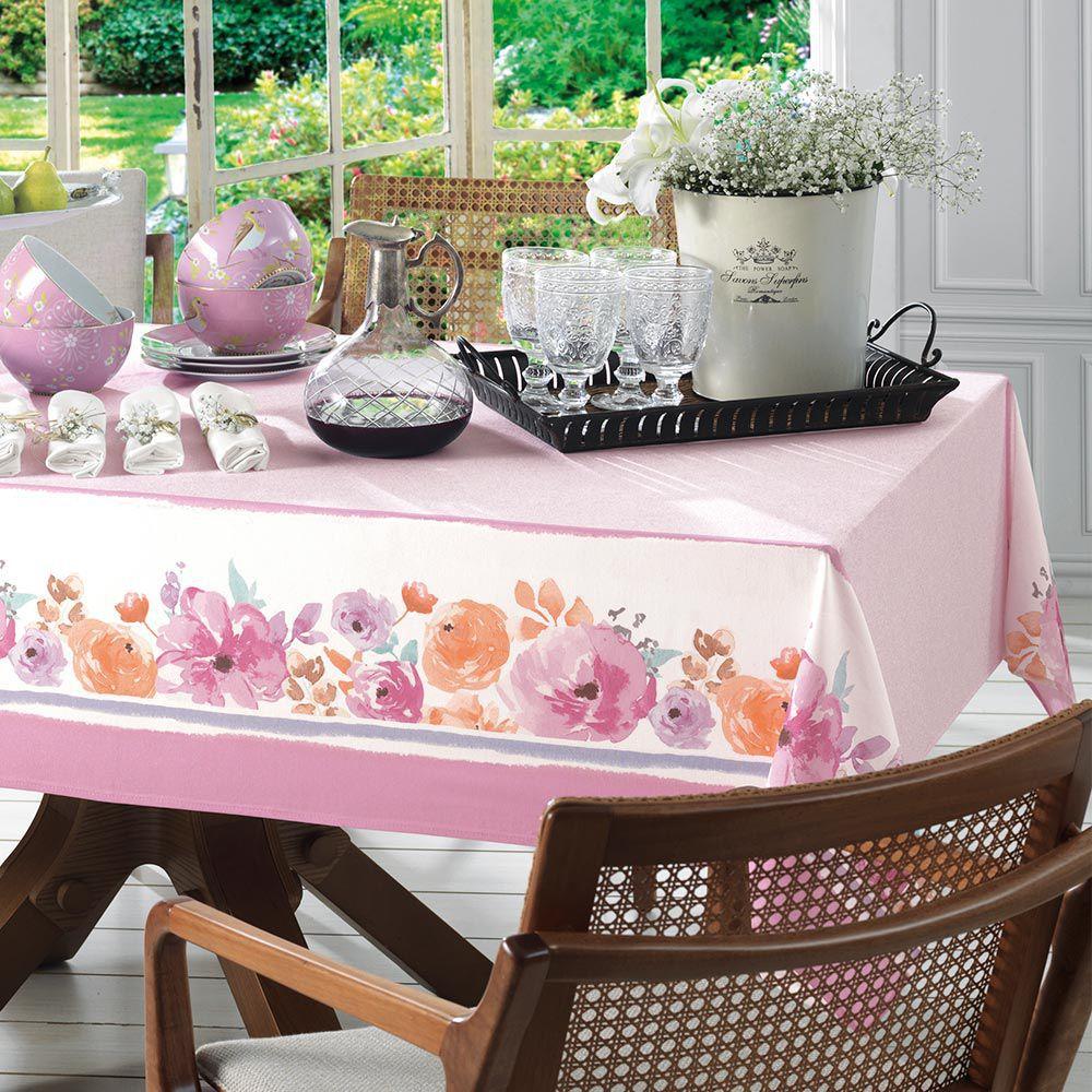 Toalha de mesa retangular 8 lugares Florata 1,40m x 2,50m - Karsten Dia a Dia