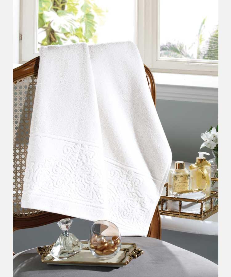 Toalha de Rosto 100% algodão Jacquard Confort Branco - Dohler