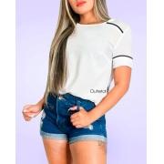 Blusa Feminina Em Viscose Com Linhas Contrastantes Promoção