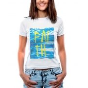 Blusa Feminina T-Shirt Estampada Manga Curta Estampa Faith.