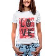Blusa Feminina T-Shirt  Manga Curta Estampa Rabiscos Love.
