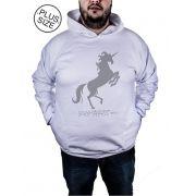 Blusa Moletom Plus Size Estampa Estampado Fire Unicorn