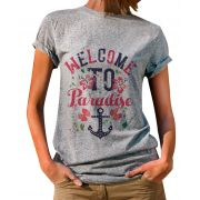 Blusa Outlet Dri T-Shirt Estampada Welcome To Paradise Cinza