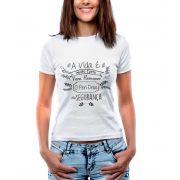 Blusa OutletDri T-Shirt Estampada A Vida Curta PenDrive Com Segurança Branca