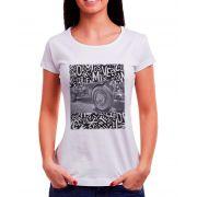 Blusa OutletDri T-Shirt Estampada Carro e Letras Branca
