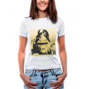 Blusa OutletDri T-Shirt Estampada Gorila Em Fundo Amarelo Branca
