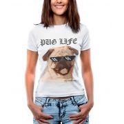 Blusa T-shirt Estampa Pug Life