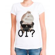Blusa T-Shirt Outlet Dri Estampa Pug de Óculos Branca