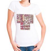 Blusa T-Shirt OutletDri Estampa Étnica Branca