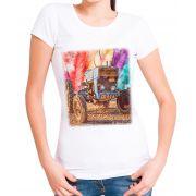 Blusa T-Shirt OutletDri Estampa Trem Colorido 3d Branca