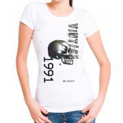 Blusa T-Shirt OutletDri Estampa Vintage Skull Branca