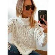 Blusa Tricot Lã Manga Longa Básico Gola Alta Cacharrel Branco
