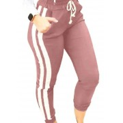 Calça Bengaline Jogger Cós Alto Cordão Listra Lateral