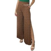 Calça Pantalona Animal Print Cós Alto Oncinha Fenda Lateral
