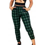 Calça Xadrez Bengaline Feminina Bomber Jogger