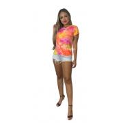 Camiseta Tie Dye T-shirt Colorida Feminina Blusa Lançamento