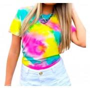 Camiseta Tie Dye T-shirt Colorida Feminina Blusa Lançamento Amarelo
