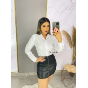 Camisete Plus size Camisa Feminino Social Branco Manga Longa Promoção