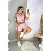 Conjunto Plus size Baby Look Blusinha Short Shortinho Oncinha Feminino Animal print