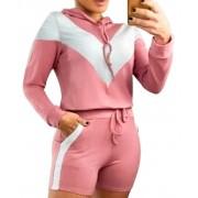 Conjunto Blusão Com Shorts Moletinho Detalhes Em Lurex Rosa