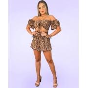Conjunto Cropped Cigana Flare Tiras Shorts Lastex Oncinha Animal Print
