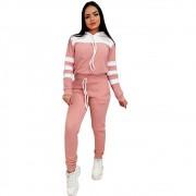 Conjunto Feminino Blusa Manga Longa E Calça Inverno Frio Rosa com Branco