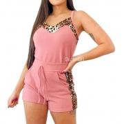 Conjunto Plus size Feminino Crepe Short E Blusa Regata Detalhe Onça