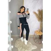 Conjunto Feminino Inverno Jaqueta Pied Poule Calça Promoção