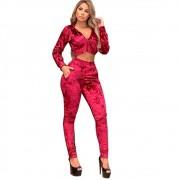Conjunto Moletom Veludo Cropped Blusa Casaco Feminino Vermelho escuro
