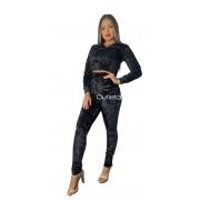 Conjunto Moletom Veludo Cropped Blusa Frio Casaco Feminino