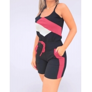 Conjunto Regata Alcinha Detalhe Bicolor Geométrico Shorts