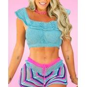 Conjunto Saída De Praia Top E Shorts Crochê Tricot Verão Modelo II