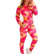 Conjunto Tie Dye Moletinho Jaqueta Curta E Calça Cós Alto