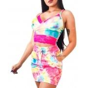 Conjunto Top Cropped Alcinha Saia Tie Dye Tendência Tye Dye
